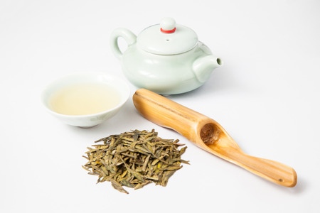 Tea and tea items on a white background