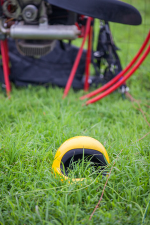 paramotor equipment on the grass