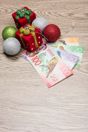 Christmas decorations and New Zealand Dollar Stock Photo - 67198572