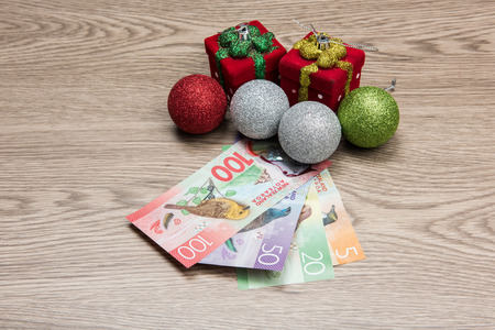 Christmas decorations and New Zealand Dollar Stock Photo