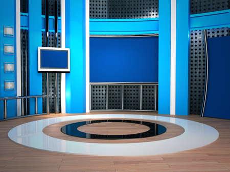 news reporter: background studio for tv chroma Stock Photo