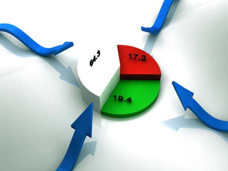 Economy share with number Stock Photo