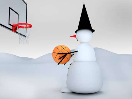 3d snowman with basketball photo