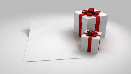 White gift box with a card. 3D image photo
