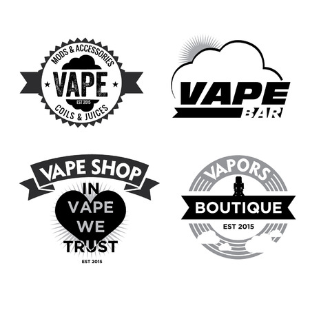 Vector - Set of vape, e-cigarette emblems, labels, prints and logos, BW, on white background,