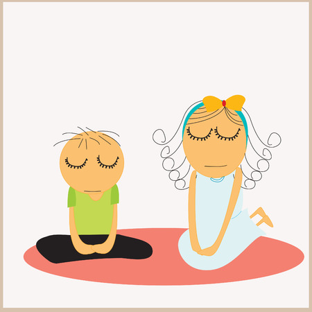 family figure meditating Vector