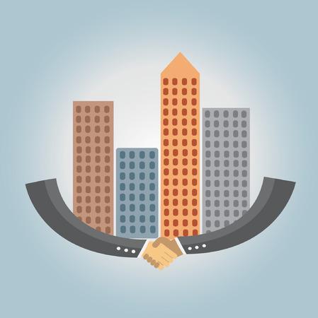 la union hace la fuerza: Business handshake and immovable property