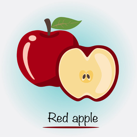 red apple: Vector - Cartoon Red Apple