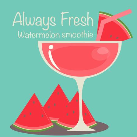 Watermelon Smoothie Vector. Illustration