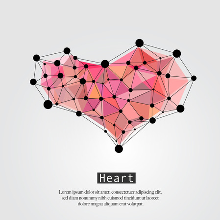 Abstract Heart Polygonal Geometric Background. Triangle elements. 矢量图像