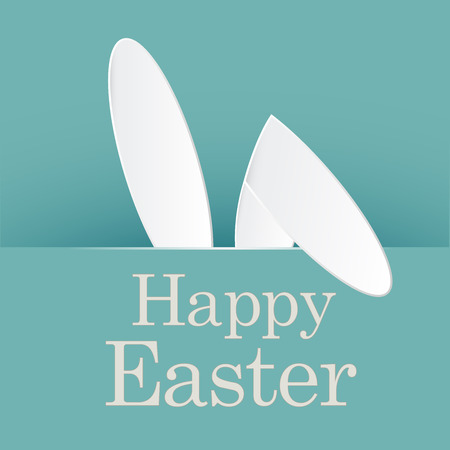 Colorful Happy Easter greeting card with rabbit, bunny and lettering