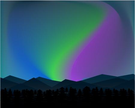 Mountain Northern Landscape Night With Aurora Stars Sky Background.
