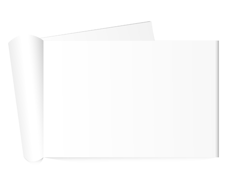 rolled newspaper: Blank open magazine with rolled page on neutral grey background . Horizontal orientation. Template for your design.