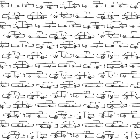 Pattern with vector cars. Illustration