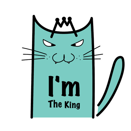 私は王の狂気の猫のタイポグラフィ。  イラスト・ベクター素材