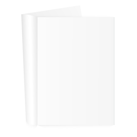 Blank open magazine template with rolled pages on white background. Vector illustration. EPS 10. Illustration