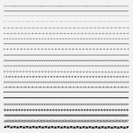 民族ライン ボーダー セットと流行に敏感な落書きデザイン要素。  イラスト・ベクター素材