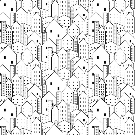 city background: City seamless pattern in black and white is repetitive texture.