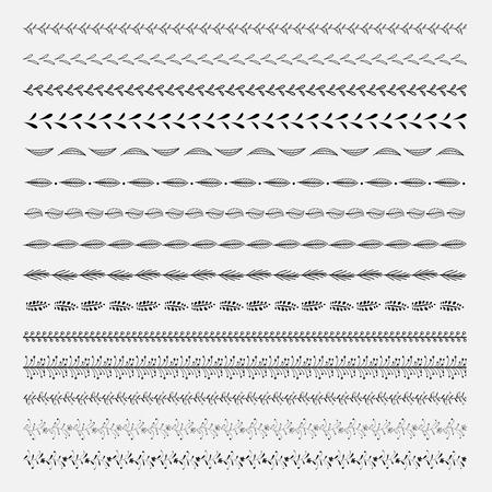 Set Of Line Hand Getekende Texturen. Vector Natuurlijke Verzameling. Stock Illustratie