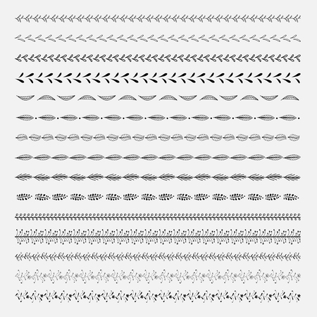 Set Of Line Hand Drawn Textures. Vector Natural Collection.