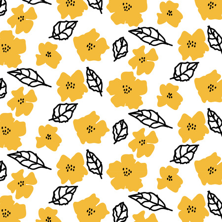 day: Pattern with flowers and leaves on white background. Illustration