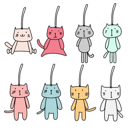 Hand Drawn Set Of Cute Cat Keychain. Vector Illustration. Illustration