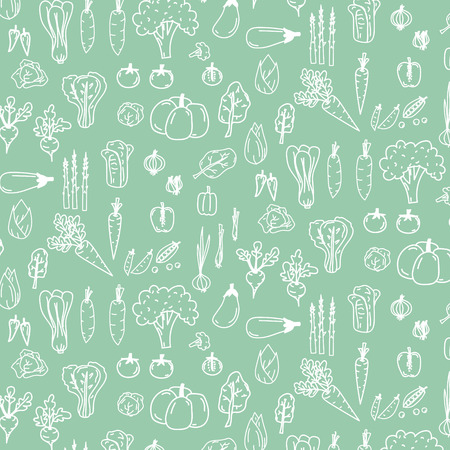 Pattern With Hand Drawn Doodle Vegetables. Vector Illustration Background.