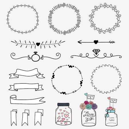 Set Of Hand Drawn Wedding Invitation Vintage Typographic Design Elements : Mason Jars, Ribbons, Wreaths And Heart.