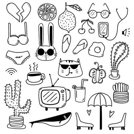 Hand drawn doodle lovely vector set. Doodle funny set. Handmade vector illustration.