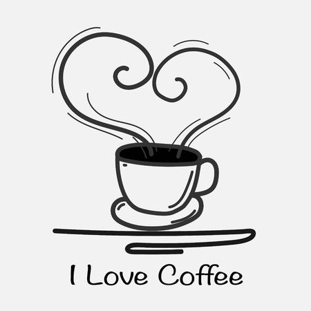 Love Coffee Hand Drawn Vector Illustration. Doodle Art.