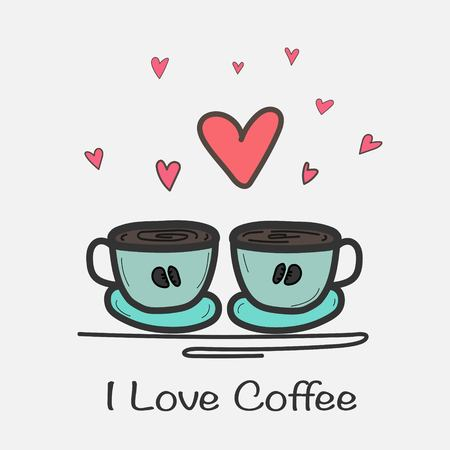Love Coffee Hand Drawn Vector Illustration. Doodle Art.