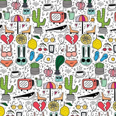 Pattern with hand drawn doodle lovely background. Doodle funny handmade vector illustration.