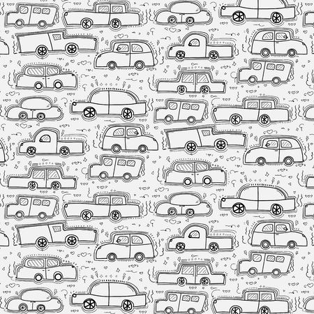 Pattern With Hand Drawn Doodle Cars Background.