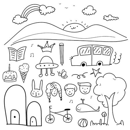 Hand Drawn Doodle Lovely Vector Set For Kid.