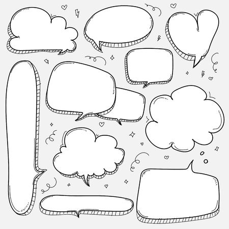 Hand Drawn Bubbles Set Doodle Style Comic Balloon isolated on plain background.