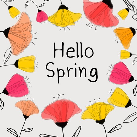 Hello Spring Greeting Card With Colorful Flowers Vector Illustration Background. Illustration