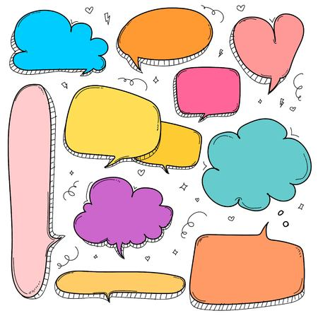 Colorful speech bubbles set on a white background