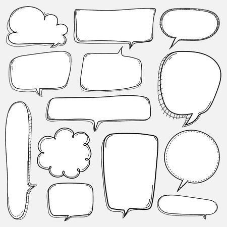 Black and white speech bubbles set on a white background 일러스트