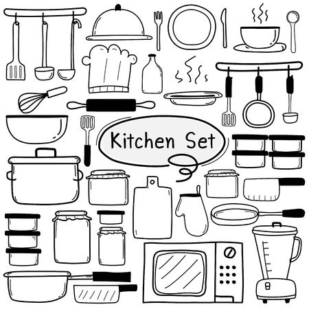 Line Hand Drawn Doodle Vector Kitchen Set Include Cooking Equipment. Vector Illustration.