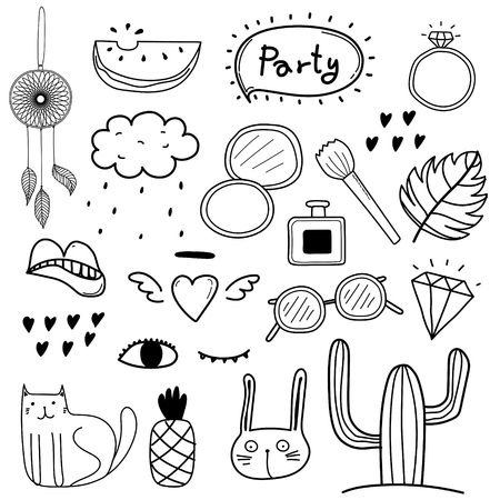 Hand Drawn Doodle Vector Party Set. Vector Design Elements Collection.