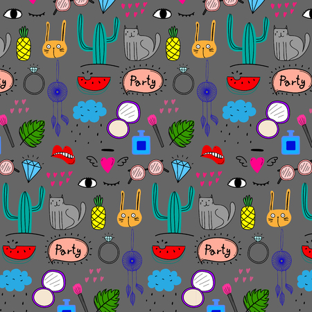 Colorful party doodles with animals, accessories and other icons. 일러스트