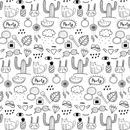 Pattern With Hand Drawn Doodle Lovely Party Background.