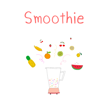 Illustration of a blender with fruits and smoothie lettering