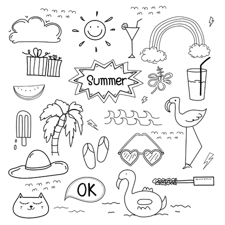 Hand Drawn Doodle Summer Vector Set Doodle Funny Set. Handmade Vector Illustration. Illustration