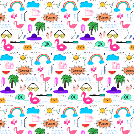 Pattern With Hand Drawn Doodle Summer Background. Doodle Funny. Handmade Vector Illustration. 일러스트