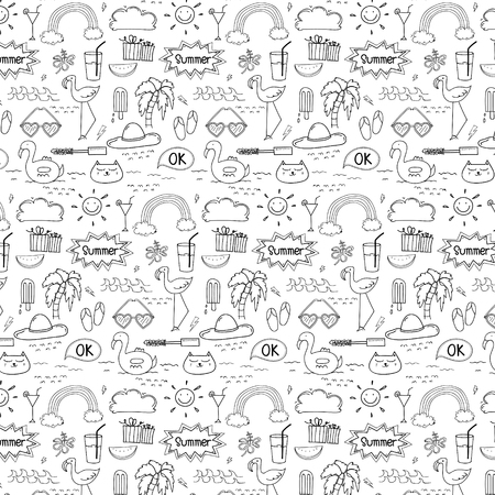 Pattern With Hand Drawn Doodle Summer Background. Doodle Funny. Handmade Vector Illustration. Illustration