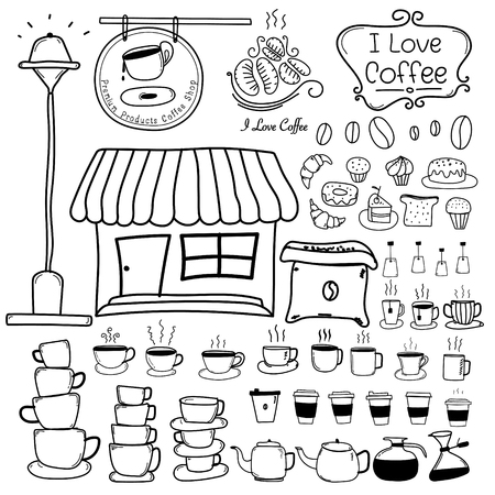 Line Hand Drawn Doodle Vector Set Of Coffee Shop. Vector Illustration.