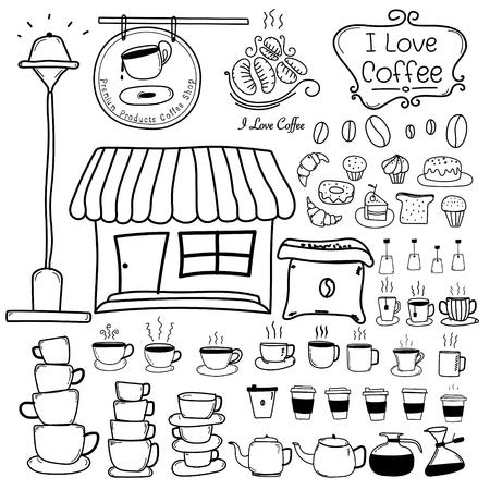 Line Hand Drawn Doodle Vector Set Of Coffee Shop. Vector Illustration.