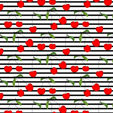Hand Drawn Cherry Pattern Vector Illustration Background.