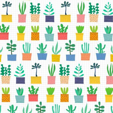 Hand Drawn Tropical Cactus Pattern. Vector Illustration Background. Illustration